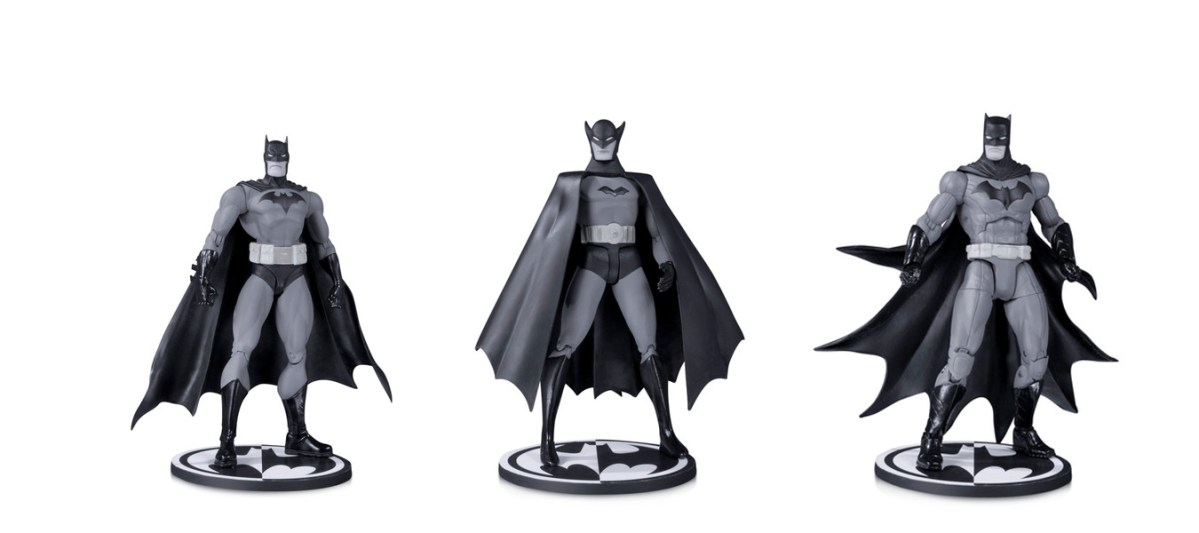 Upcoming black and white action figures embody the noir of Batman