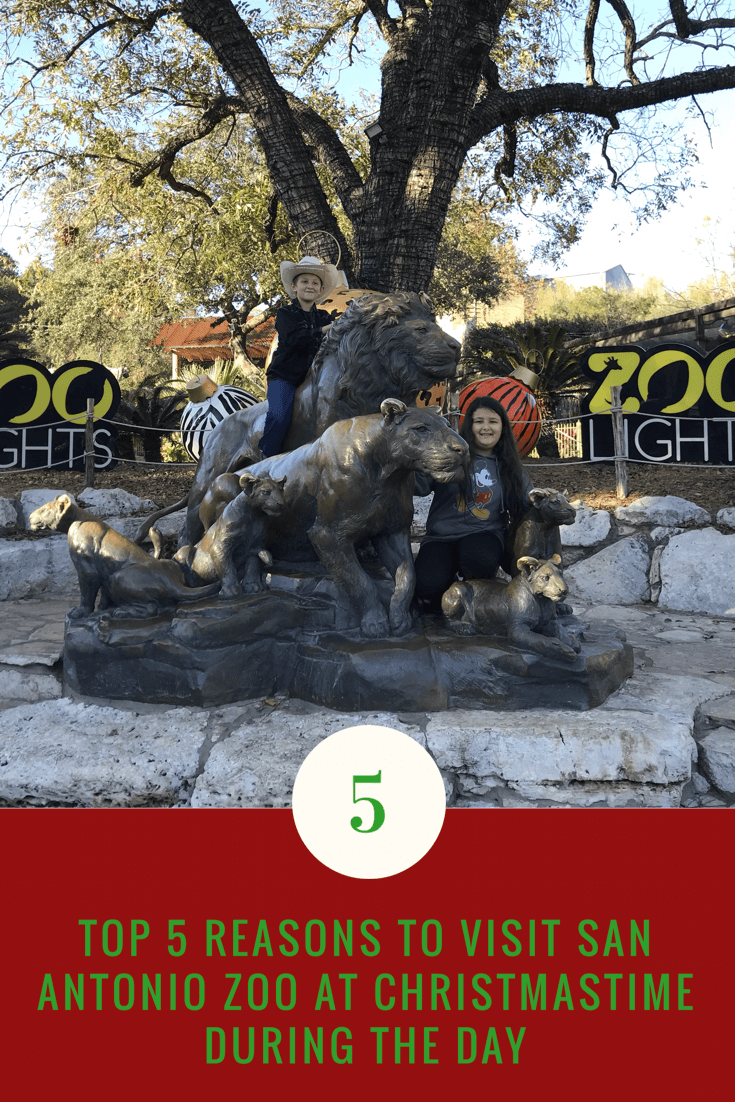 Christmastime at the San Antonio Zoo statue entrance photo op Christmas