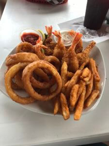 shrimp with onion rings and fries mikel mays bob hall pier padre bali best free beach park corpus christi texas