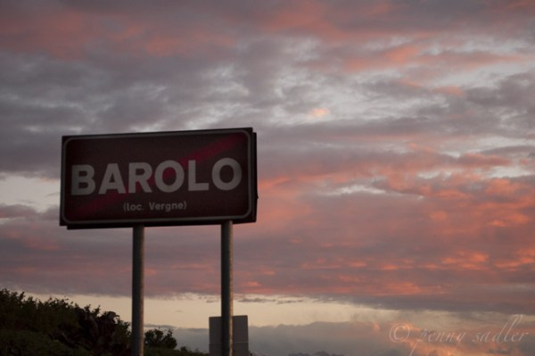 Barolo, Italy sign at sunset @PennySadler 2015