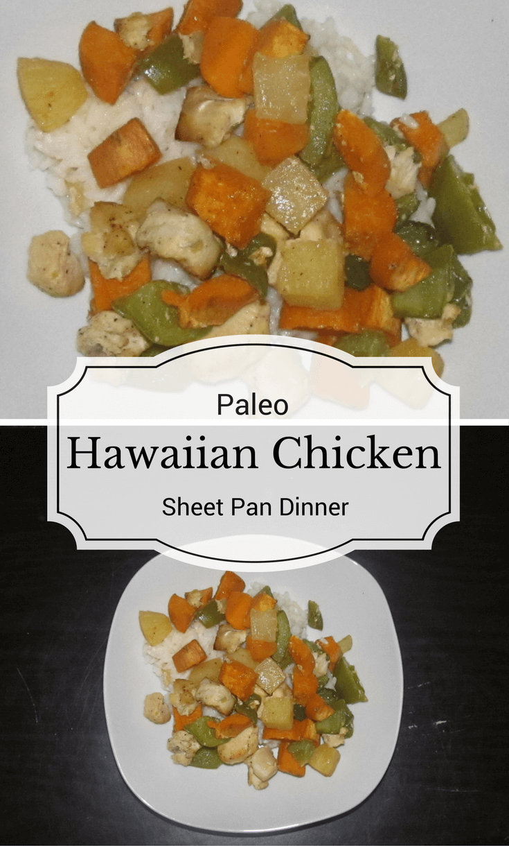This Hawaiian Chicken sheet pan dinner is loaded with sweet pineapple, loads of vegetables and cooks entirely on one sheet pan for easy clean-up!