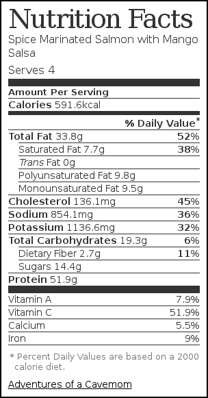Nutrition label for Spice Marinated Salmon with Mango Salsa