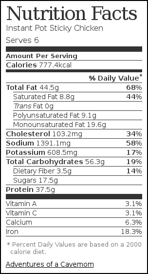 Nutrition label for Instant Pot Sticky Chicken