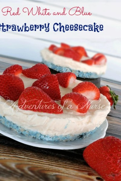 Red White and Blue Strawberry Cheesecake
