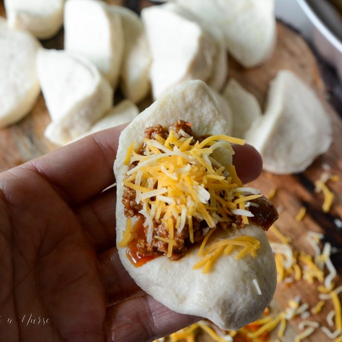cheese on top of taco meat