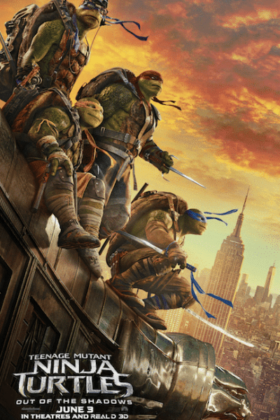 Leonardo, Donatello, Michelangelo, and Raphael in the new trailer for Teenage Mutant Ninja Turtles: Out of the Shadows