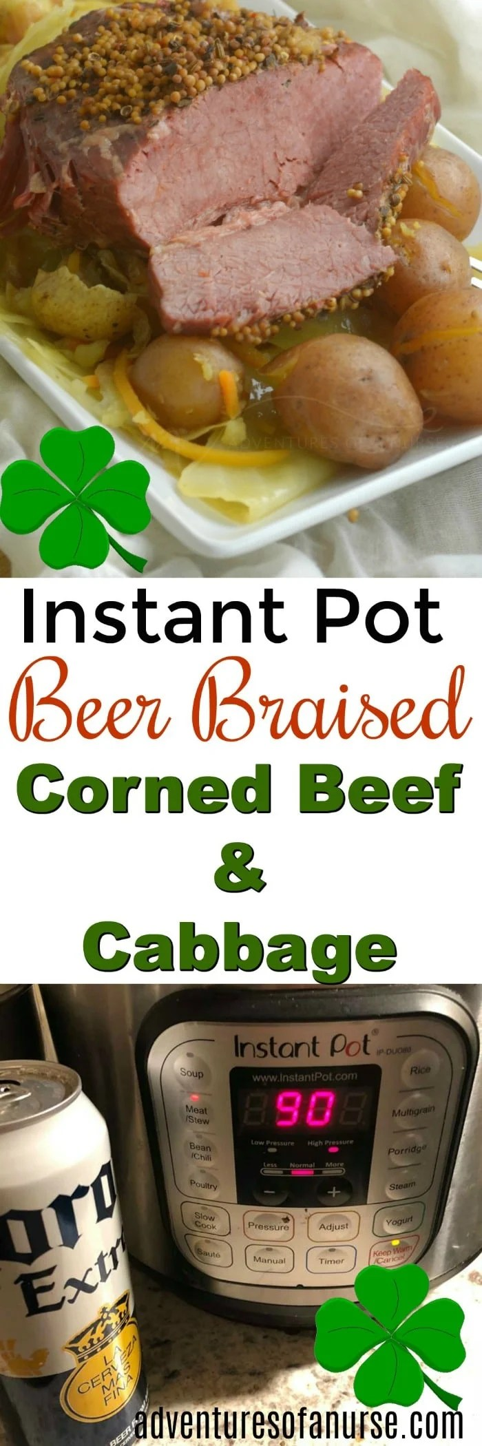 Instant Pot Beer Braised Corned Beef and Cabbage with Potatoes