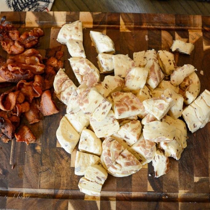 cinnamon rolls cut in quarters