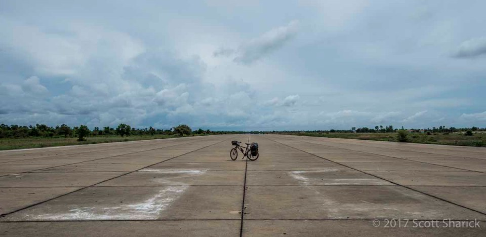 Just me and my bicycle. I have the whole runway to myself.