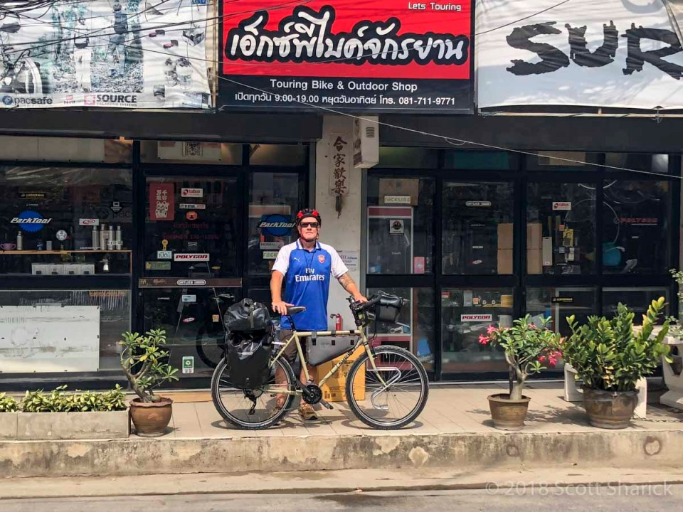 Me and my new Surly Long Haul Trucker Bicycle at the Let's Touring bicycle shop in Bangkok.