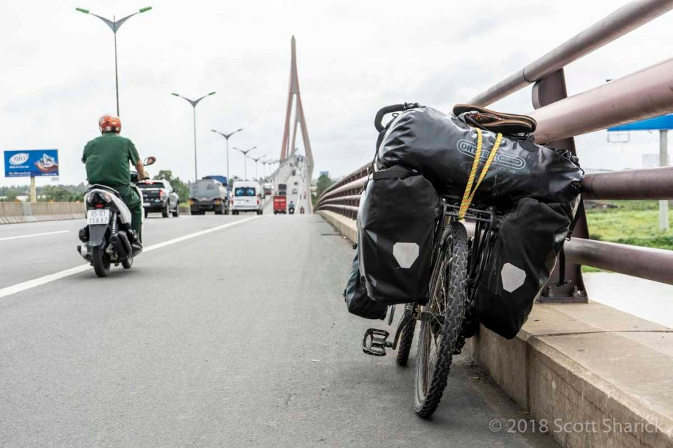 My loaded bicycle on the Can Tho Bridge which crosses the Mekong River