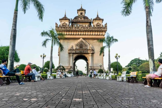 The Patuxay Monument in Vientiane, Laos. Designed after the Arc de Triomphe in Paris