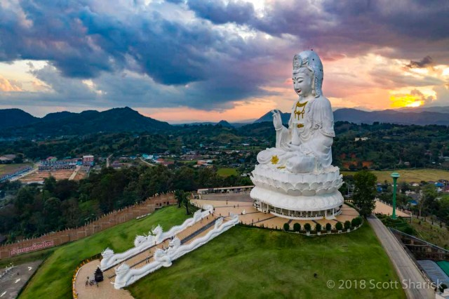 "A drone view of Wat Huay Pla Kung ""Big Buddha"""