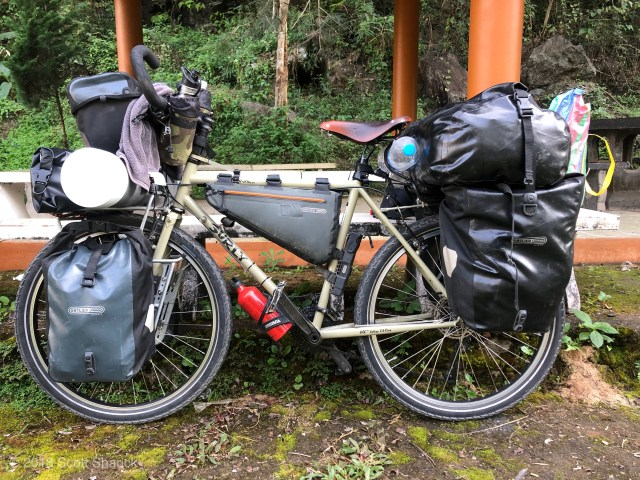 My loaded bicycle with all of my possessions