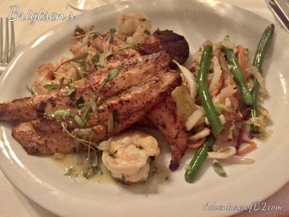 Grilled Redfish with Shrimp and Yukon Potatoes from Brigtsen's Restaurant