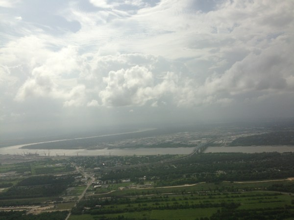 Aerial view of New Orleans and the Mississippi river