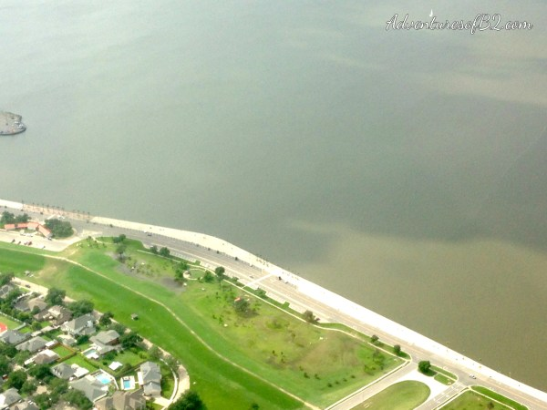 View of the lakefront and lake ponchartrain during an aerial tour of new orleans