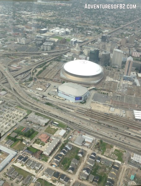 aerial tour of New orleans superdome and arena