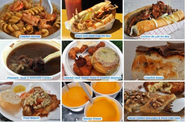 Some of the delicious food that is served at Jazziest in New Orleans. Enjoy some of our creole cuisine while listening to fabulous music at Jazzfest