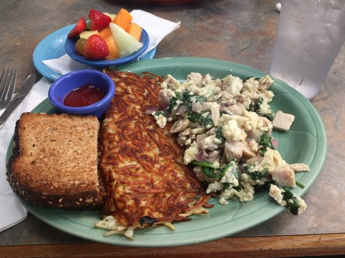 Biscuits cafe in portland oregon did not disappoint for a healthy delicious breakfast complete with egg whites, whole wheat toast, and fresh fruit.