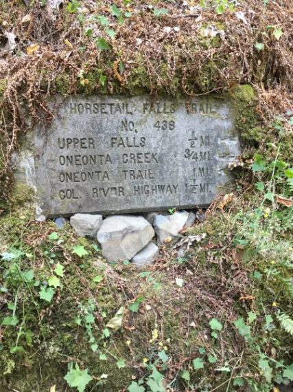 horsetail falls trail sign to find the best views and waterfalls in portland oregon