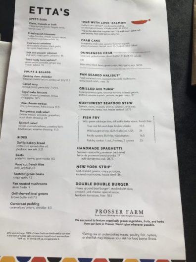 Etta's menu