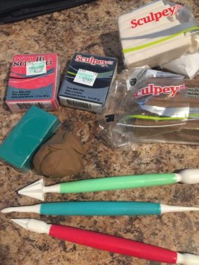 polymer clay and tools for making a wedding cake topper