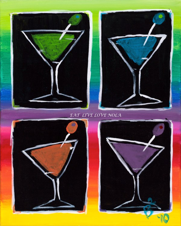 Colorful Martinis art print by eatlivelovenola. Great piece to put in your home or next to your bar.