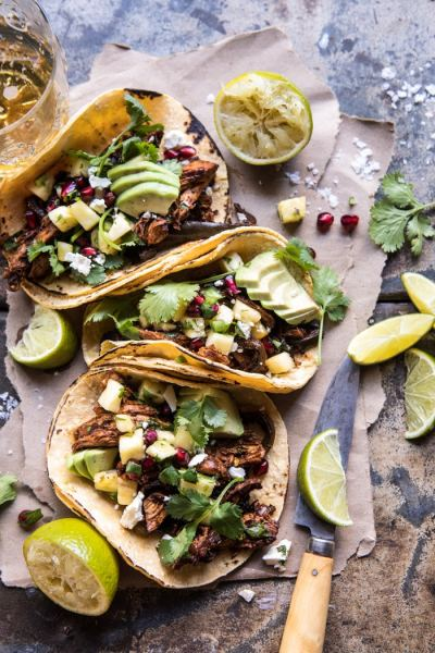Slow-Cooker-Spicy-Pineapple-Chicken-Tacos from half baked harvest