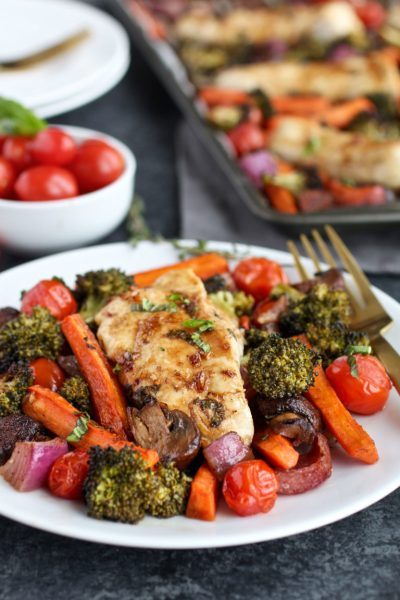 one pan balsamic chicken veggie bake from the real food rds