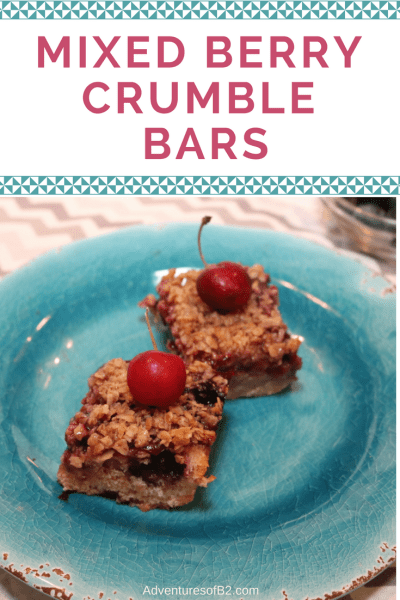 mixed berry crumble bars are a perfect summer time treat. It has a soft almond flavor covered with fresh cherry and blueberry filling and topped with oats and cinnamon. Best served warm with ice cream.