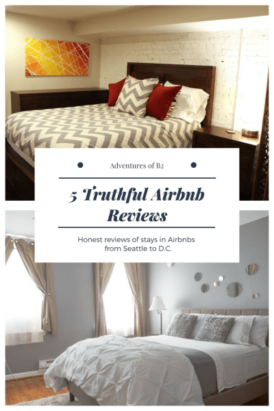 truthful airbnb reviews for airbnb stays from seattle to washington dc.