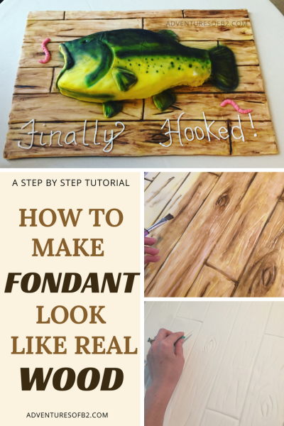 A step by step tutorial for making fondant look like wood grain for a cake board. This simple trick that takes your cakes to the next level!