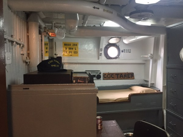 Sleeping quarters aboard the USCGC Taney. This is one of four historical ships you can explore in Baltimore