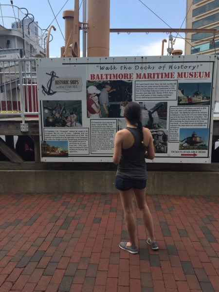 reading info of historical ships in baltimore maryland. you can explore 4 different ships including uss torsk submarine, uscgc taney, uss constellation and chesapeake lightship