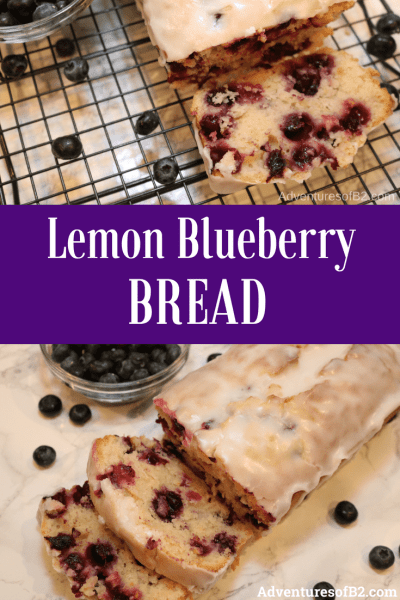 Lemon blueberry bread with a lemon glaze is a delightful sweet treat. Packed with blueberries and full of lemon flavor, this makes a delectable treat for breakfast, or have a slice with ice cream for dessert.