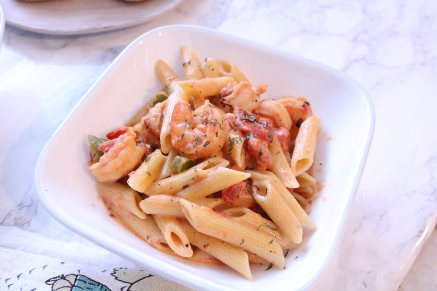 An amazing southern comfort meal. Make this delicious cajun shrimp pasta in 30 minutes or less for an easy weekday dinner.