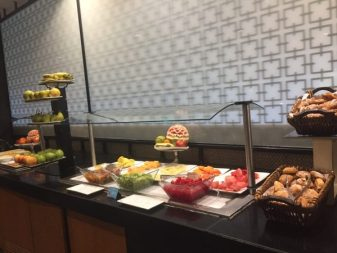 An assortment of fruit and breads are available to enjoy at the Playa Bonita in Panama City, Panama.