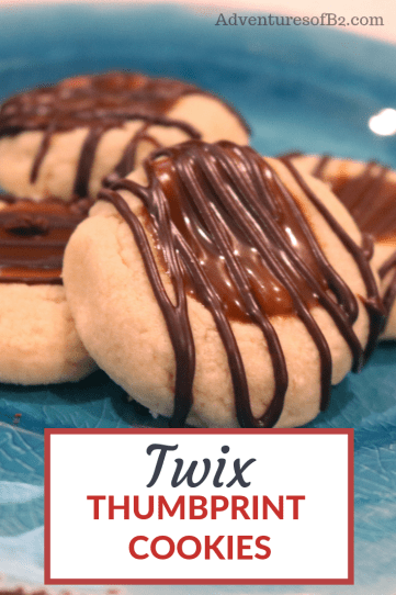 Twix Thumbprint Cookies are your favorite candy bar wrapped in a cookie. A soft shortbread cookie with salted caramel and chocolate drizzled on top. You'll be pleasantly surprised how good this recipe is!