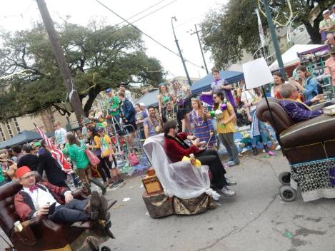 There's nothing off limits at Mardi Gras including men riding motorized recliners in a parade. Learn all the tips of surviving mardi gras at adventuresofb2.com