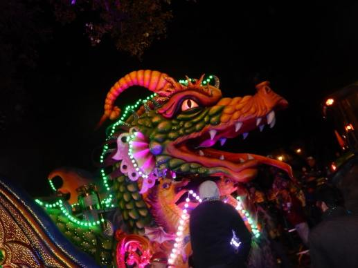 The dragon in the Orpheus parade is one of the best floats of Mardi Gras. Enjoy this superkrewe and many more over at Adventuresofb2.com