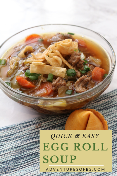 Quick and easy to make, this egg roll soup has all the flavors of an egg roll in a soup. Whip this delicious meal up in 30 minutes for a tasty weeknight meal. - Adventures of B2