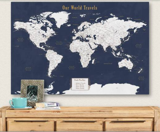 Get your own personalized travel map and track your adventures with these unique gift idea! Add your own key or legend to make tracking your travels a breeze! Perfect gift idea for travelers or people who love adventure. #Christmas #etsy #travelgifts #giftideas