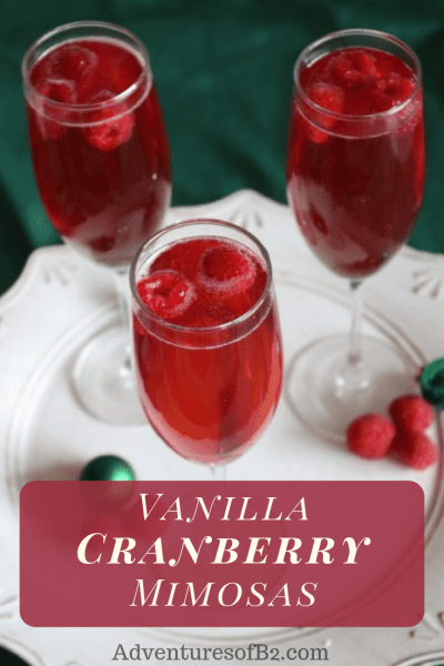 Vanilla Cranberry Mimosas are the perfect holiday cocktail for this Christmas season! The perfect party drink for any holiday party.