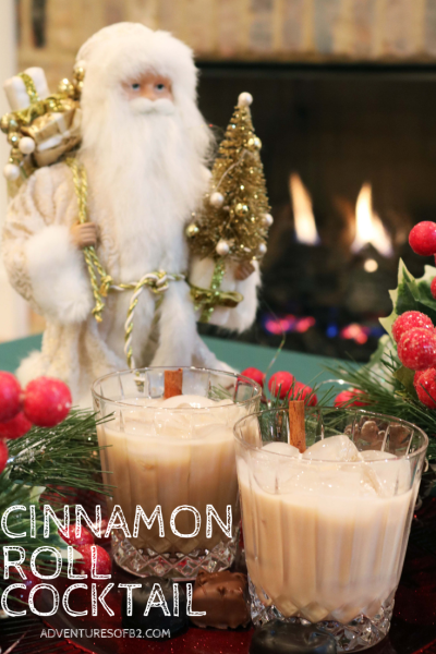 Cinnamon roll cocktail is the perfect dessert cocktail to sip with friends around the fireplace this Christmas. A classic favorite breakfast made into a holiday cocktail! #holidaycocktail #christmasdrinks