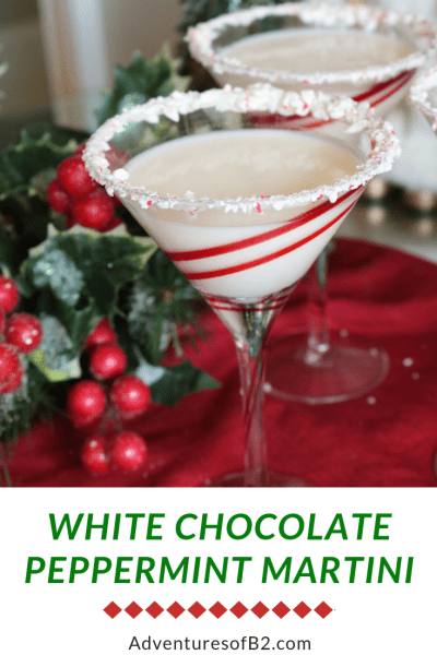White chocolate peppermint martini is Christmas in a cup. With swirls of cream and peppermint, it's a guaranteed favorite Christmas party drink!