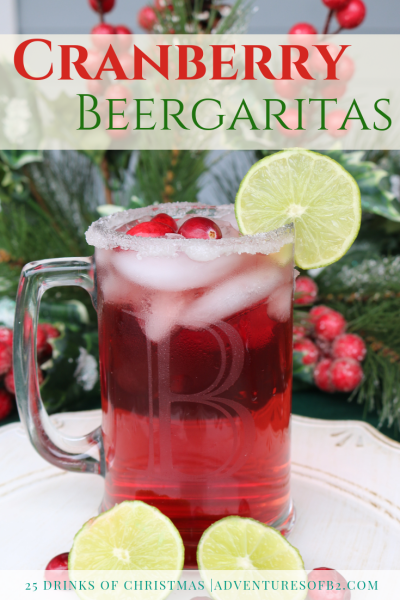 Deck the halls with these delicious Cranberry Beergaritas! These are a sweet twist to the classic margarita. Guaranteed to come your new favorite cocktail! Serve this up at your next holiday party! #holidaydrinks #christmascocktails #margaritas #drinkrecipe