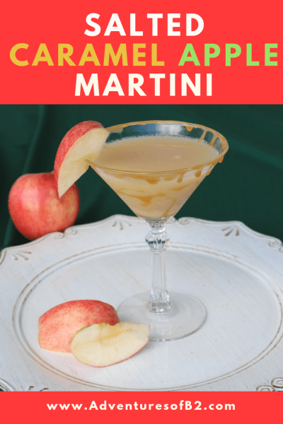 Salted Caramel Apple Martini is the perfect holiday martini! It's like biting into a fresh caramel apple. Surprise your guests at your next holiday party with this amazing holiday cocktail recipe.