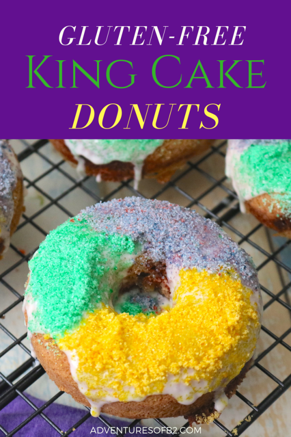Nothing gets you into the Mardi Gras spirit like king cake doughnuts! These donuts are deliciously sweet and gluten free! A great addition to your Mardi Gras party! - Adventures of B2 #glutenfree #breakfast #donuts #doughnuts #mardigras