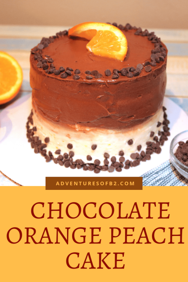 chocolate orange peach cake tastes just like chocolate infused with orange and peach flavors. A light orange peach cake with orange buttercream and peach filling surrounded by chocolate buttercream. a delightful cake for any occasion. - AdventuresofB2.com #cake #chocolate #orange #peach #dessertrecipe #fancydessert